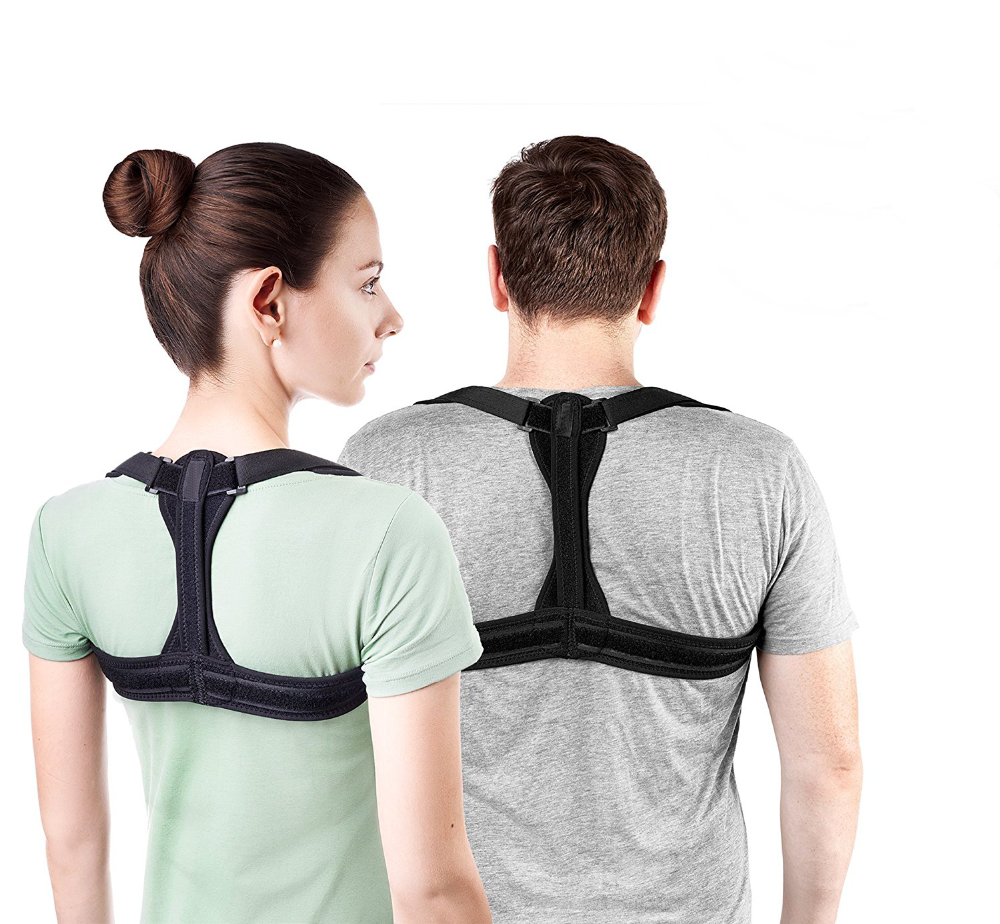 Upper Clavicle Support Improve Bad Thoracic Kyphosis Shoulder Alignment Back Brace Posture Corrector, Black or customized