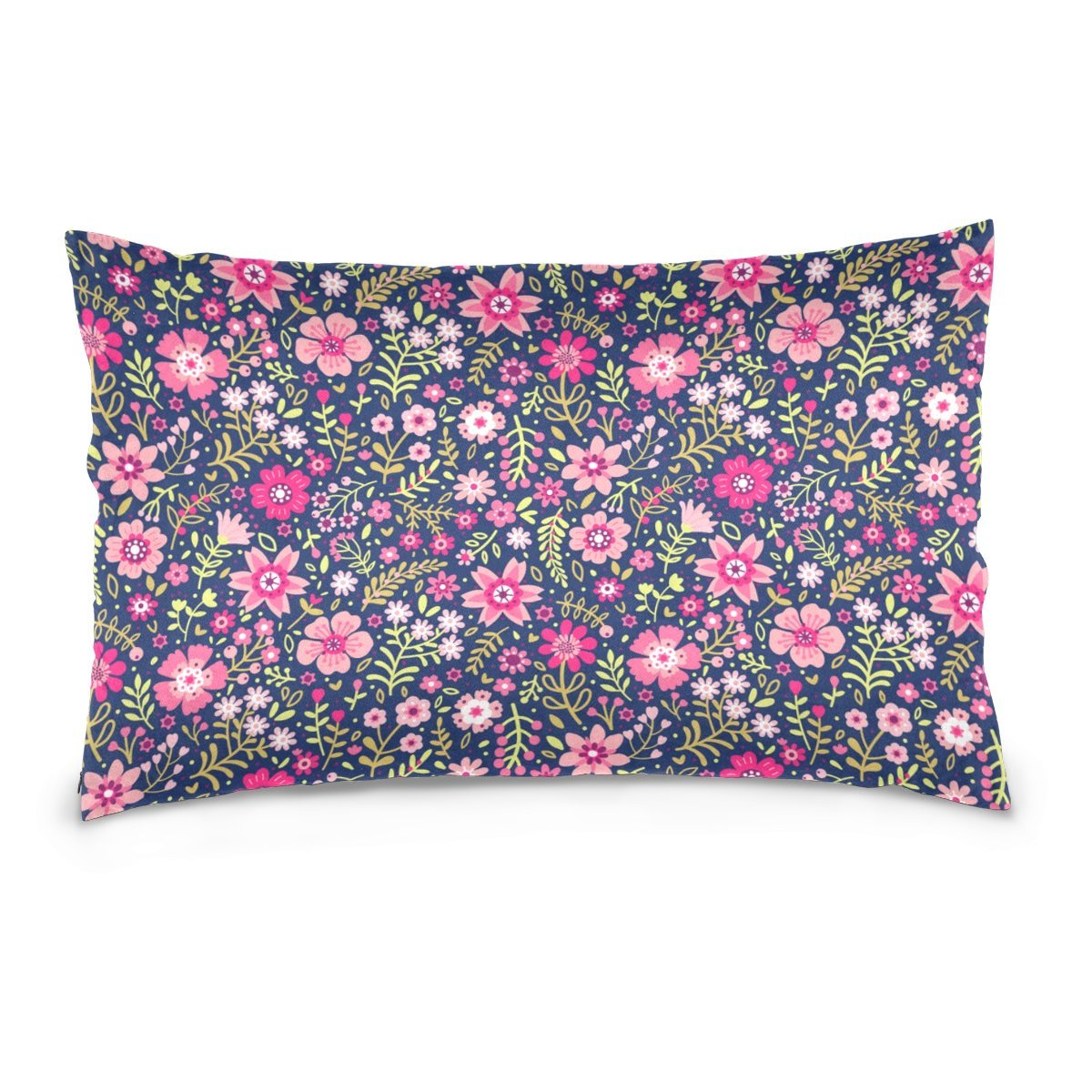 Cotton Velvet Pillowcases Small Pink Ditsy Flower Soft Pillow Protector with Hidden Zipper 20 x 36 Inch
