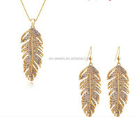 Two Colors 18k gold plated austrian crystal feather jewelry sets necklace + earrings