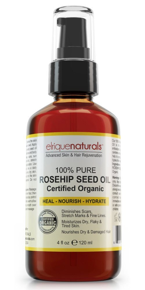 100% Pure Organic Rosehip Oil HUGE 4 OZ VALUE SIZE! Rosehip Seed Oil For Face And Skin Potent Skin And Hair Health Elixir - Best Hydrating Organic Rosehip Seed Oil For Face And Skin