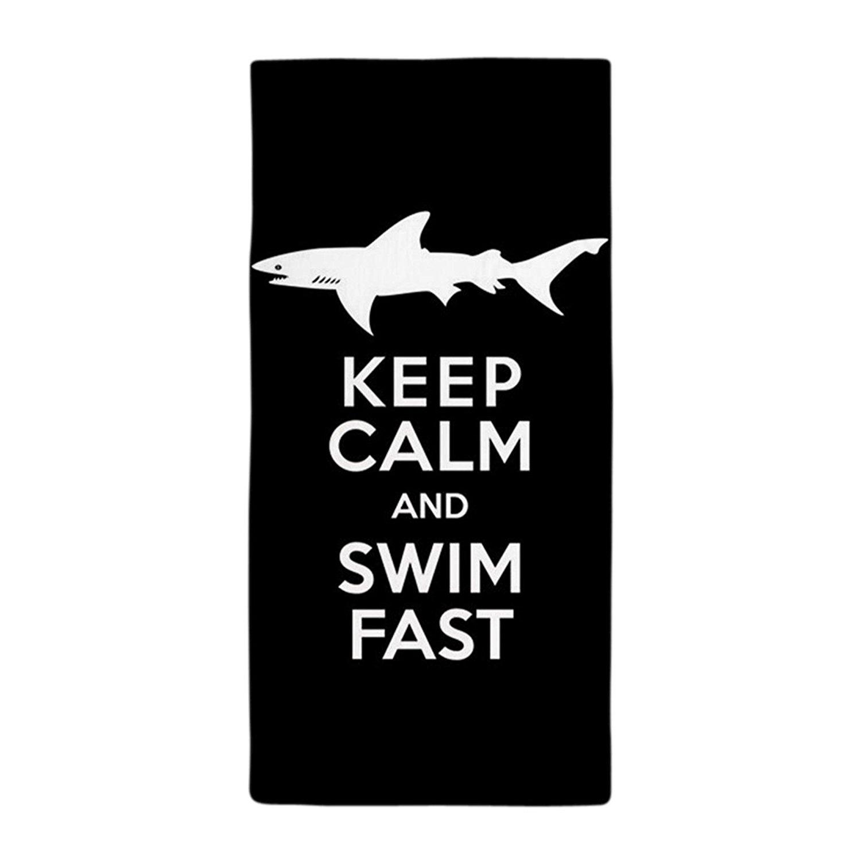 "Bath Towels Sharks Keep Calm Swim Fast Beach Pool Towels 28"" x 55"""