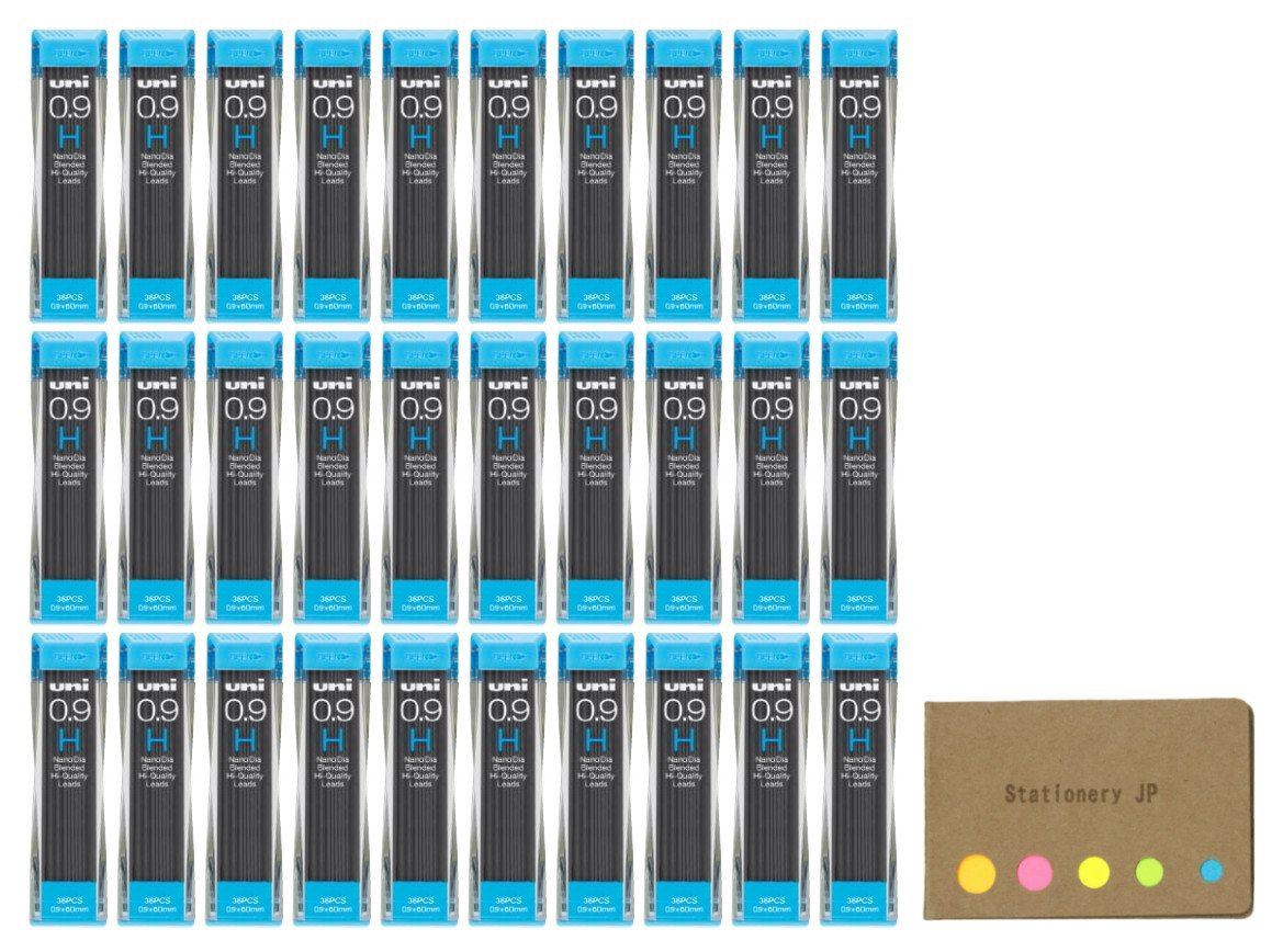 Uni NanoDia Mechanical Pencil Leads 0.9mm H, 30-pack/total 1080 Leads, Sticky Notes Value Set