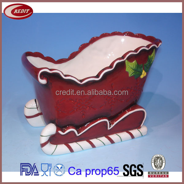 FCC6732 Christmas Sweet Decorative Ceramic Sleigh
