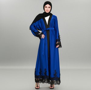 2018 New style dark blue and red lace clothes original design polyester women open Abaya