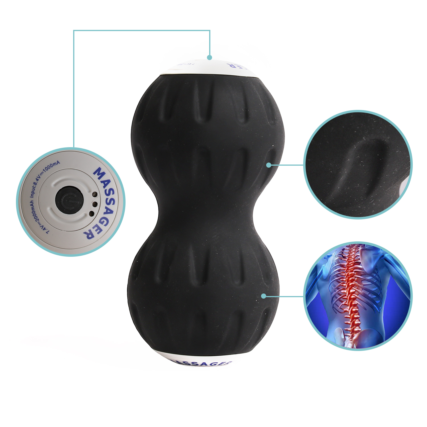 Procircle Vibrating Peanut Electric Massage Ball For Foot, Back, Legs,
