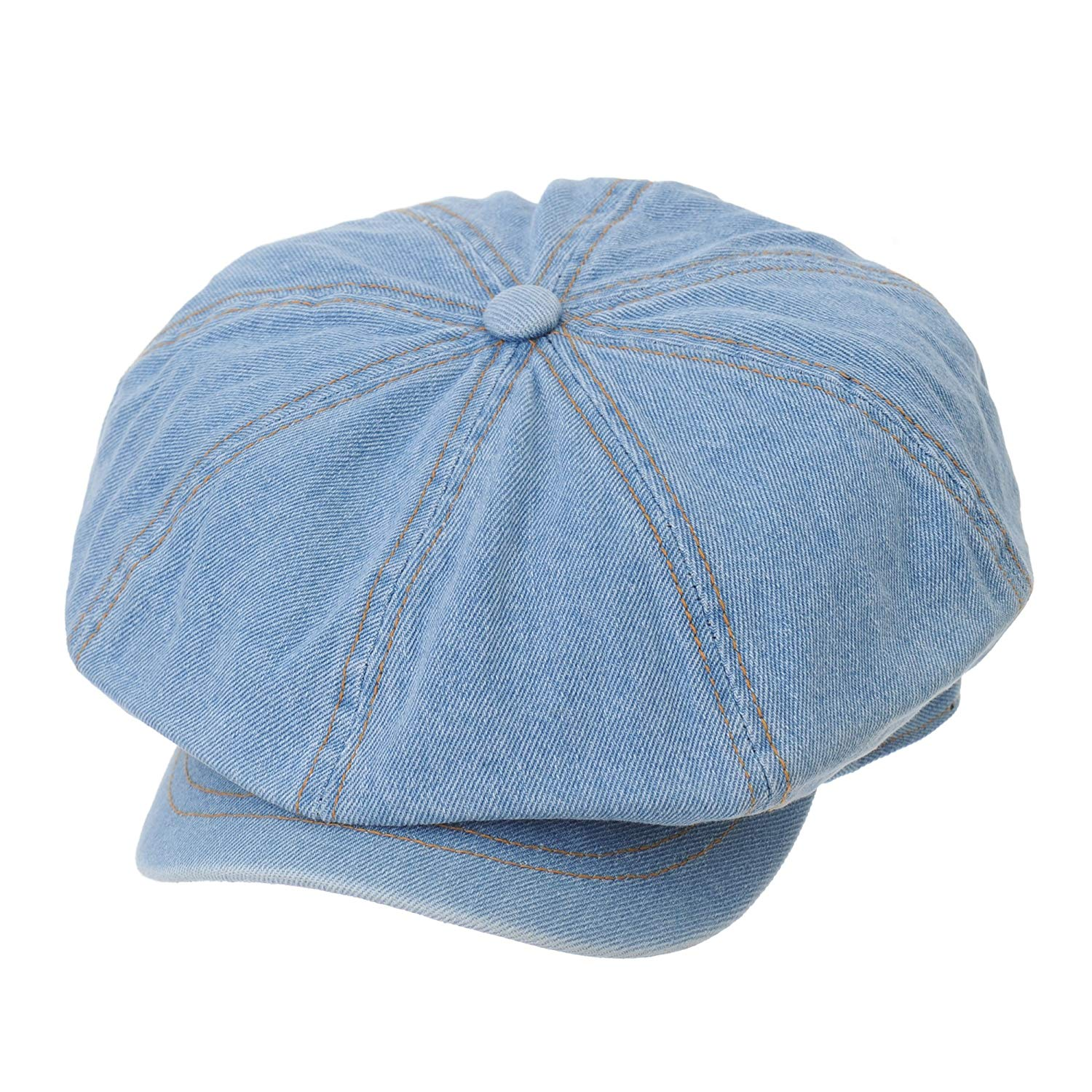 Get Quotations · WITHMOONS Denim Cotton Newsboy Hat Baker Boy Beret Flat Cap  KR3613 2180373fe22