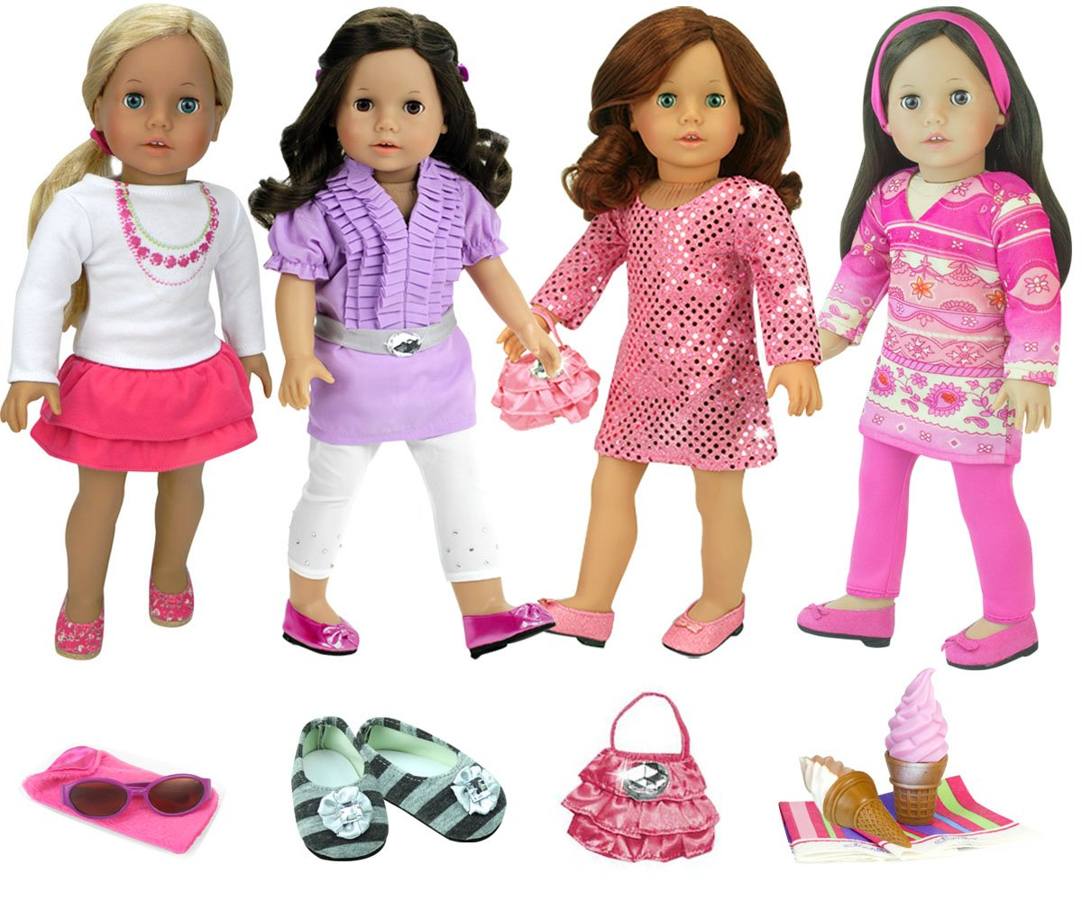 15 Piece Doll Clothing Set with Accessories by Sophia's for 18 Inch Dolls