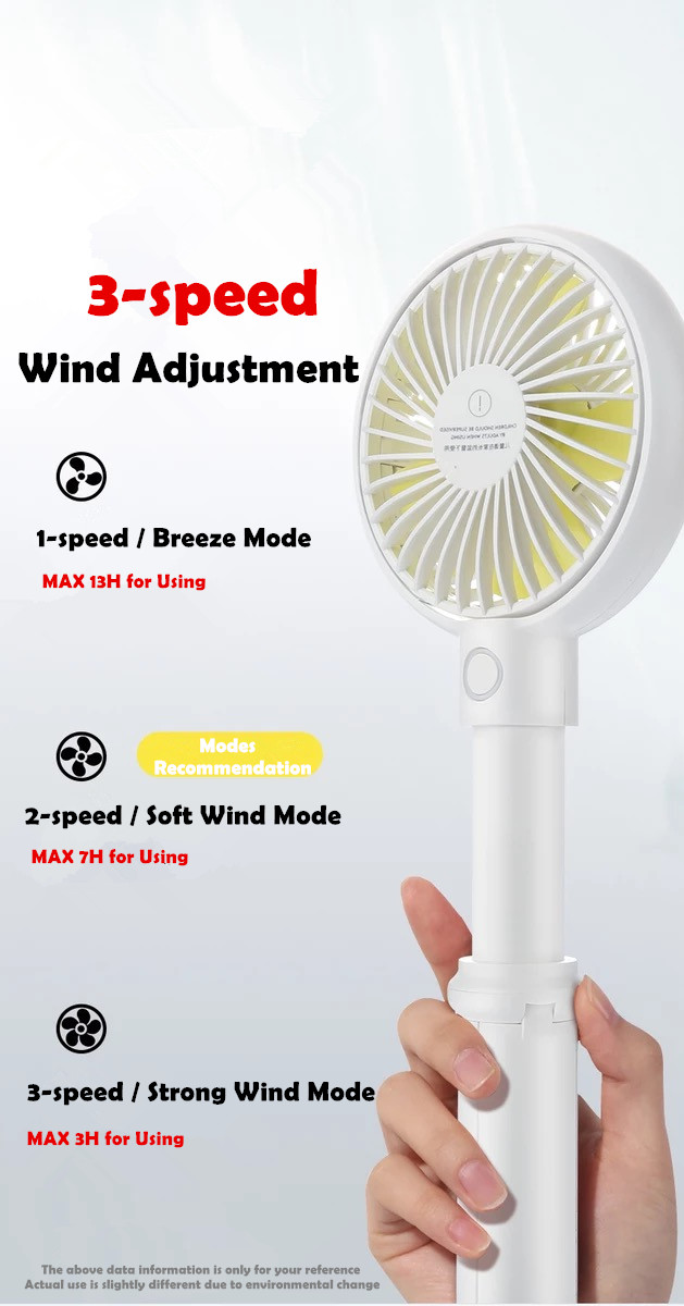 Handheld Electric Fans Mini Portable Outdoor Fan with Rechargeable 3350mAh Battery Foldable Handle Desktop for Home and Travel