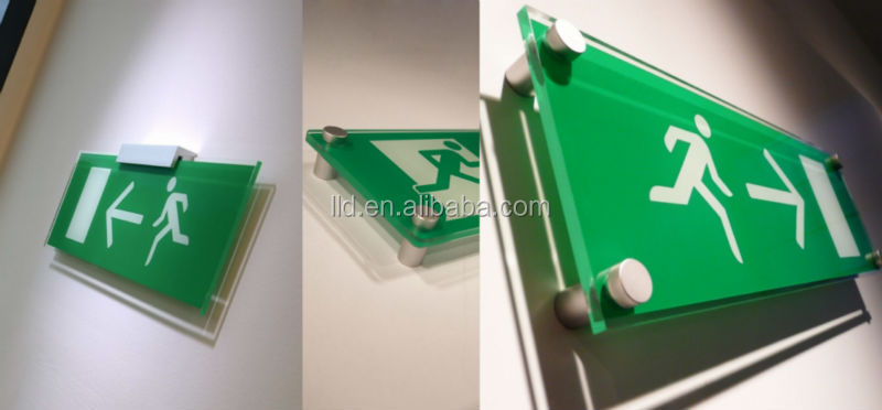 acrylic led emergency escape sign with CE ROHS 3 years warranty, led acrylic exit sign led emergency exit sign