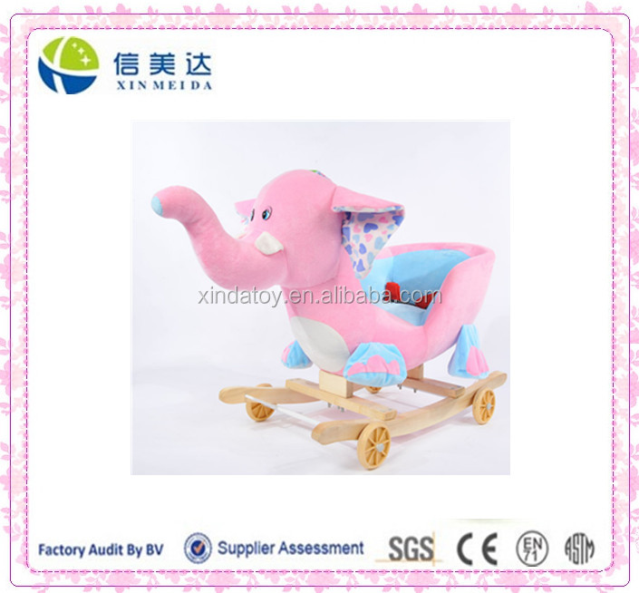 the stuffed plush pink elephant rocking chair