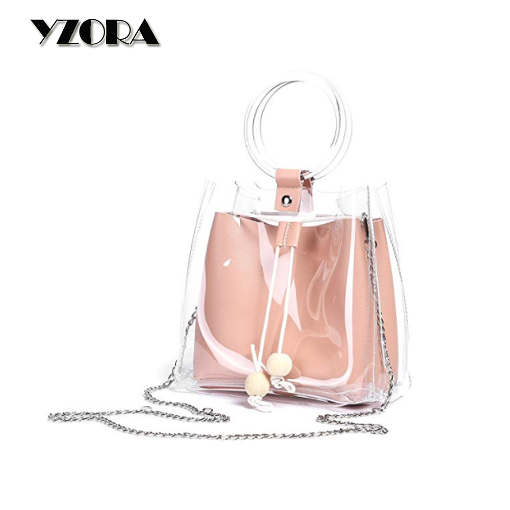 Fancy Clear Women Handbags Bucket Composite Bag Transparent <strong>Totes</strong> with Purse