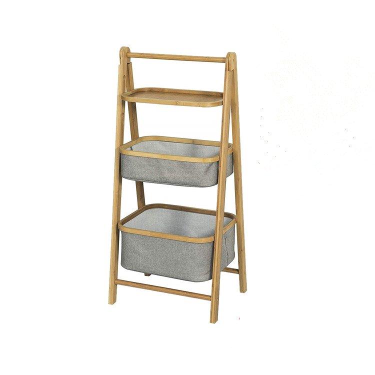 3 Tiers Foldable Bamboo Bathroom storage <strong>Shelf</strong> with 1 <strong>Shelf</strong> 2 Baskets Display Shelving Unit