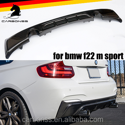 Rear Bumper Lip Diffuser For BMW 2 Series f22 Carbon Fiber 2014+