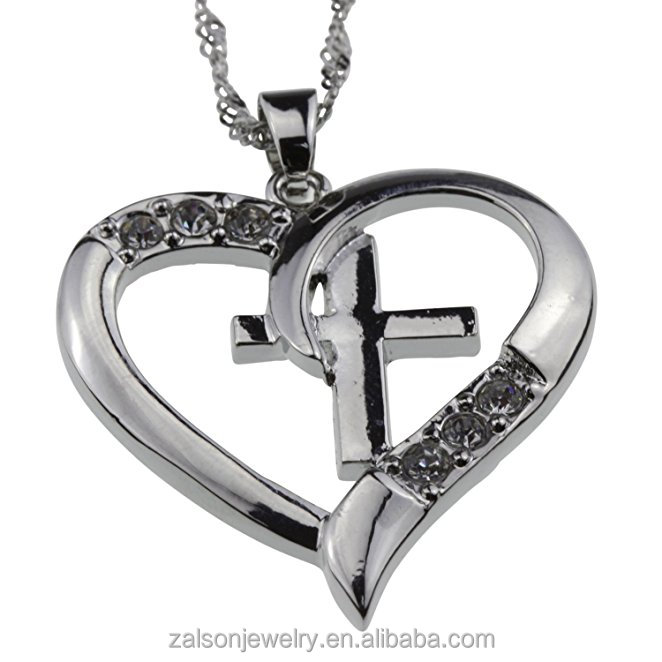 Silver Christian Cross & Heart Pendant [I Love Jesus] CZ Necklace -- Amazing Mothers Day, Easter or Christmas Gift for Girl