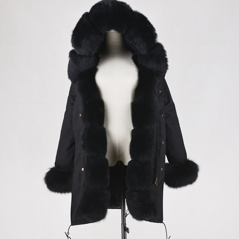 OEM Wholesale Luxury Ladies Genuine Fox Fur Casual Hood Parka Women Long Trench Jacket Outwear Coat