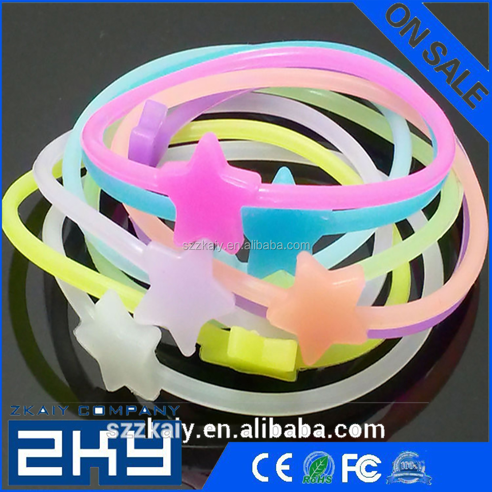 bracelet wristband fluorescent beads luminous silicone hand tie bands glow in the dark elastic headband hair ring