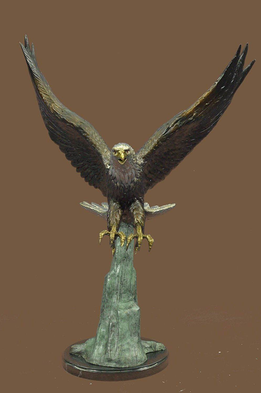 ...Handmade...European Bronze Sculpture Signed Moigniez Large American Eagle Swoops To Prey Marble (1X-57596) Bronze Sculpture Statues Figurine Nude Office & Home Décor Collectibles Sale Deal Gifts