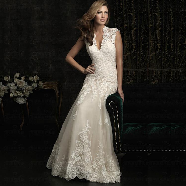 Vintage Wedding Dresses Used: Lace Wedding Dress 2016 Backless Zipper Plus Size Beach