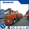 cargo trailer 20 feet flat bed with self-loading and unloading crane