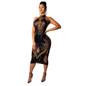 2019 Nightclub Halter Backless Mesh Lace Transparent Bodycon Sexy Sequin Slim Sleeveless women dress