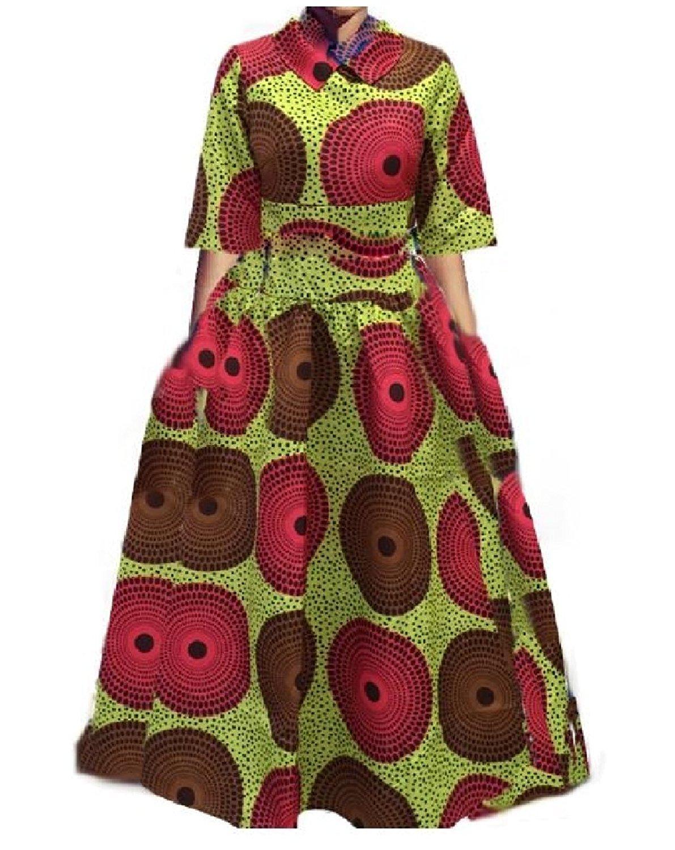 Zimaes-Women 2-Piece Print Big Pendulum Outfit Mid-Sleeve Baggy Hi-Waist Maxi Skirt Dresses