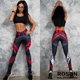 Letter Print Yoga Pants Women Sexy Red Striped Gym Sport Leggings Tight Fitness Athletic Hips Leggings Sportswear