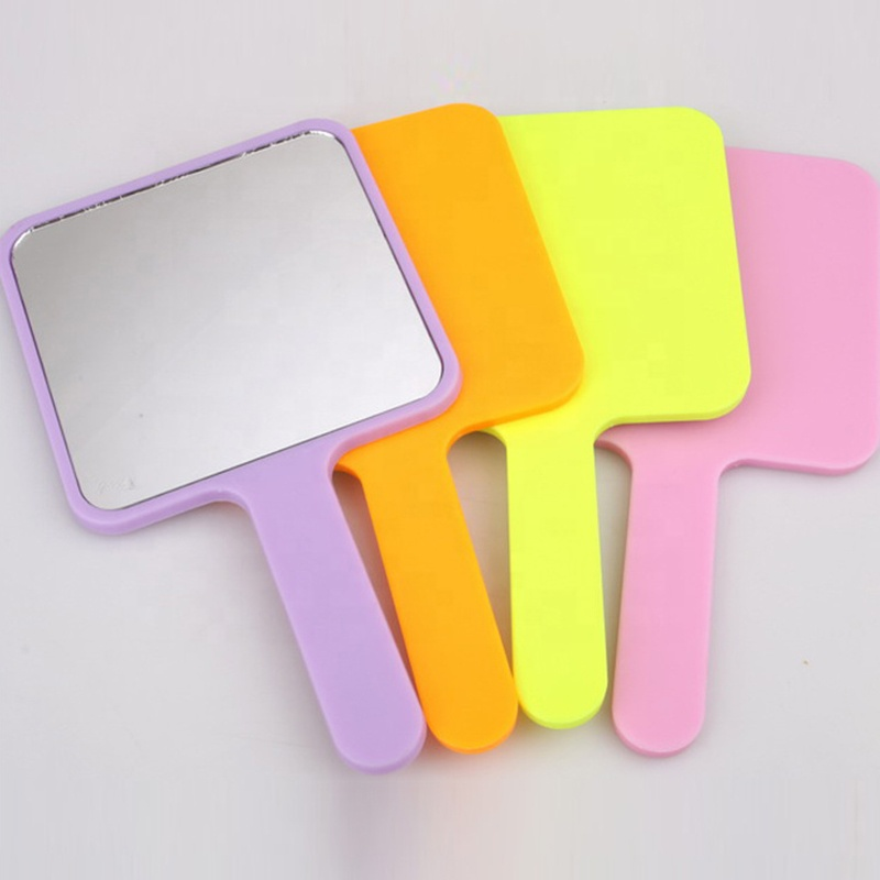 Promotional Gift Square Four- color Makeup Handheld Plastic Cosmetic Mirror Custom Hand Mirror