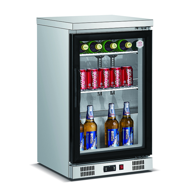 90L counter top glass door bar display mini freezer for beer