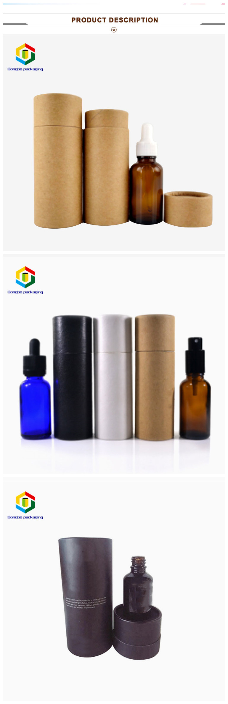 Bottle package different colors print small black paper tube package for essential oil