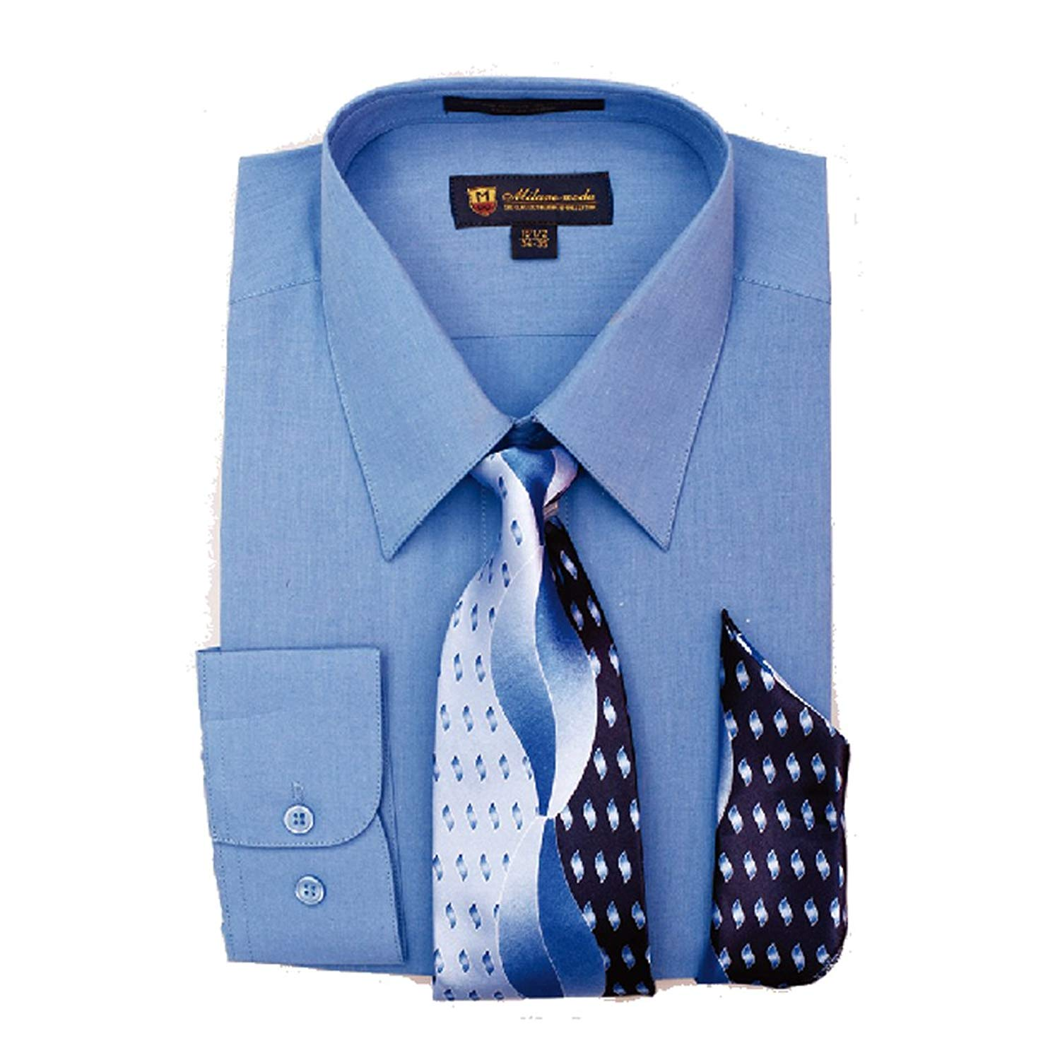 4b630a0ad Get Quotations · Milano Moda Men's Dress Shirt with Tie/Handkerchief HLSG21 New  York Brand