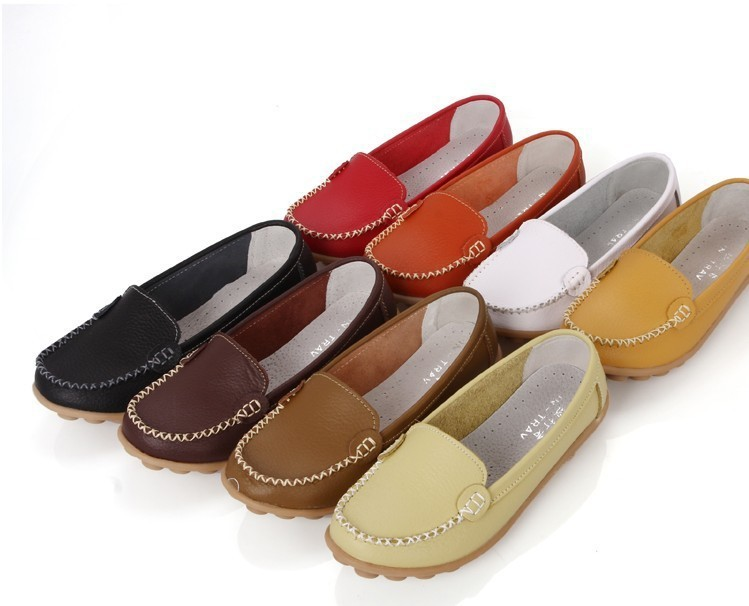 Promotions!!New 2015 Women Flats 100% Genuine Leather Shoes Slip-on Ballet Comfort Shoes woman 8 Colors moccasins plus size 41