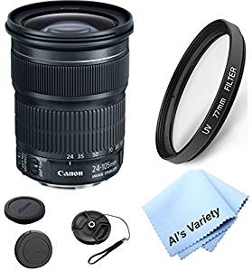 Canon EF 24-105mm f/3.5-5.6 IS STM Zoom Lens (White Box) Bundle Kit With + High Definition UV Filter + Al's Variety Premium Cleaning Cloth + Great Value Bundle