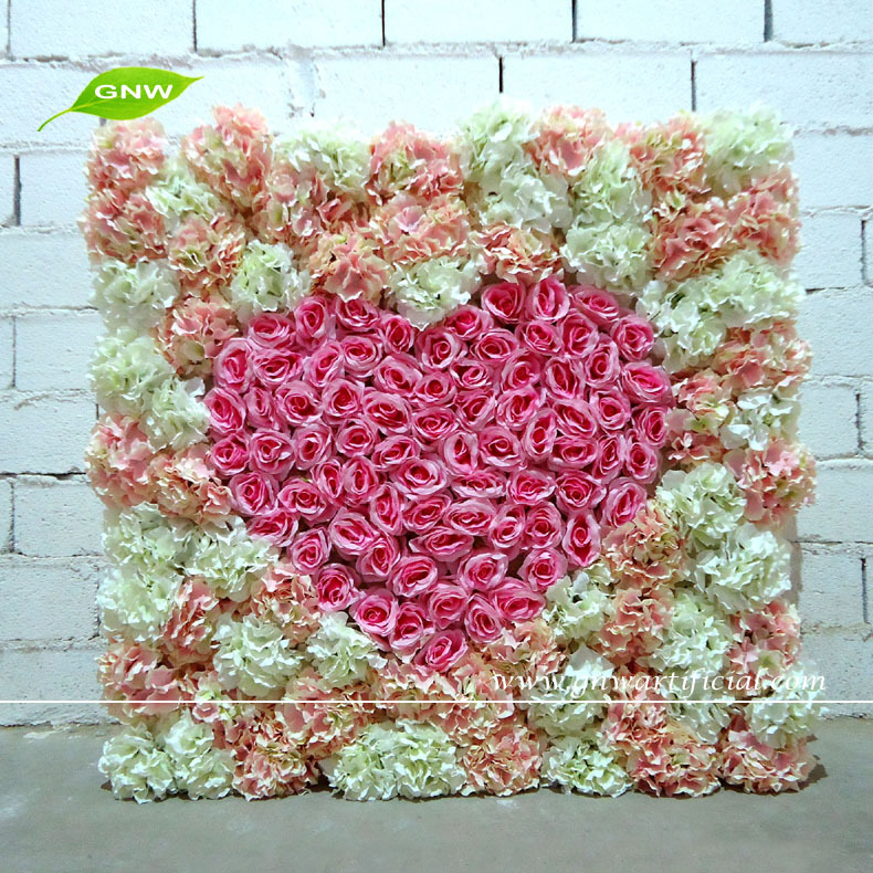 Gnw Flw1508 Wedding Decoration Flower Stand With Silk Rose Artificial Wall Arrangement For Stage Backdrop