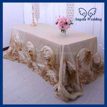 Cl052ca Angela Wedding Hand Made Flower Luxury Expensive 6ft Rectangle Taffeta Rose Tablecloths