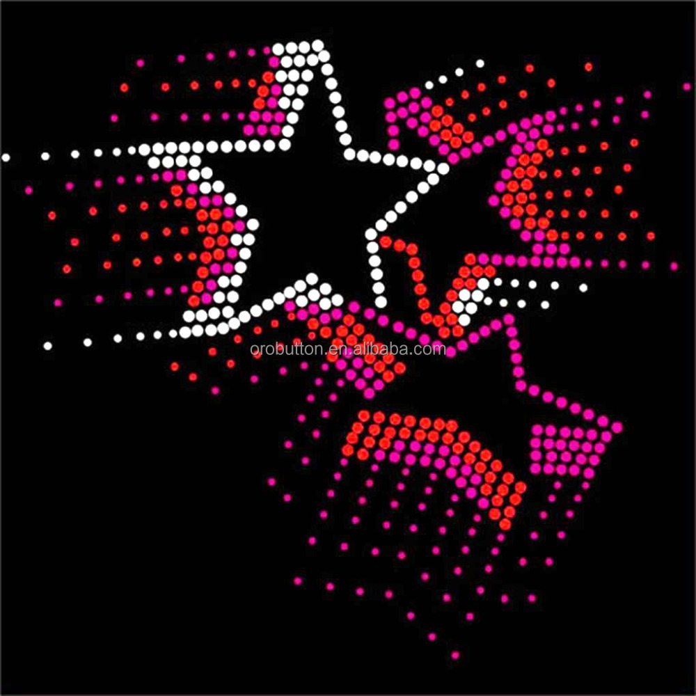 Beautiful crystal star design rhinestone template material for t-shirt