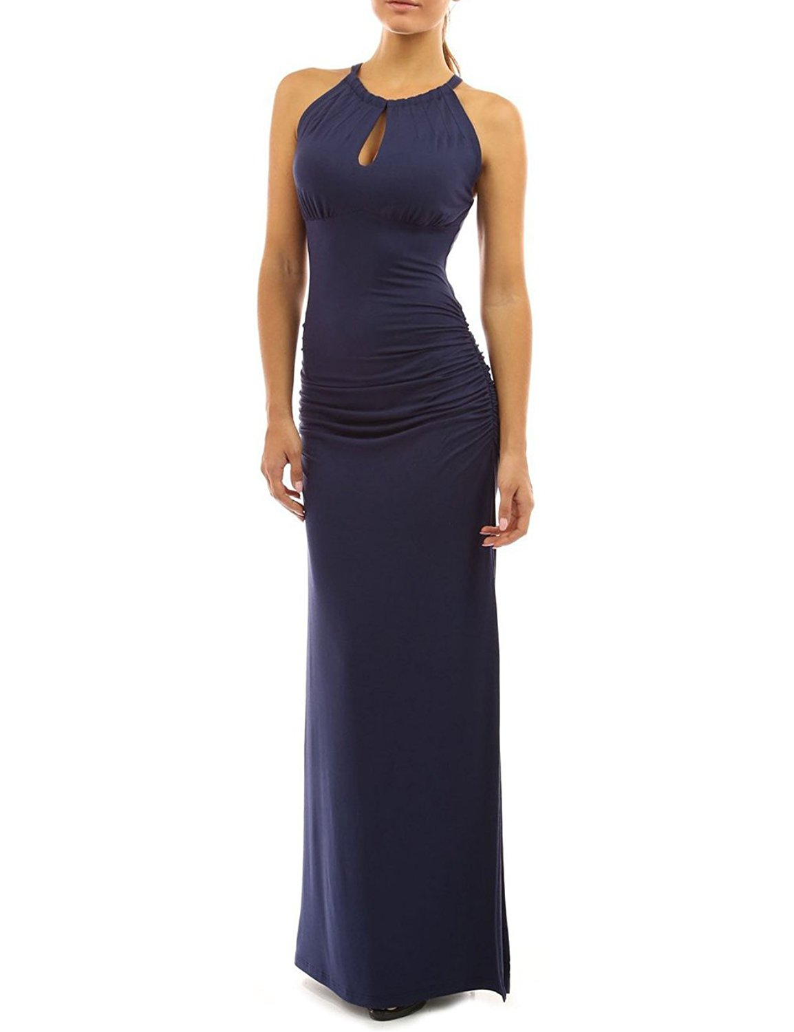 7765ab769c Get Quotations · BEDTREE Women's Maxi Ruched Fold Elastic Bodycon Dresses  Sexy Halter Hollow Out Side Slit Formal Party