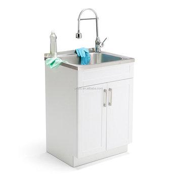 Utility Sink Modern Mop Slop Tub Deep Laundry Room Vanity Cabinet