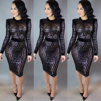 sexy mesh sequin bandage cocktail midi dress for fat women