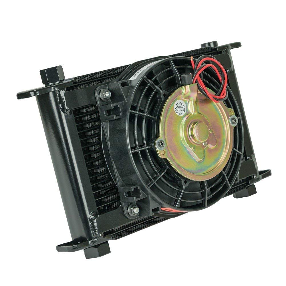 Flex-a-lite 700021 Remote Mount Stacked Plate 21-Row Engine-Oil Cooler with Electric Fan, (11 x 7 1/2 x 1 3/4 with an Fittings)