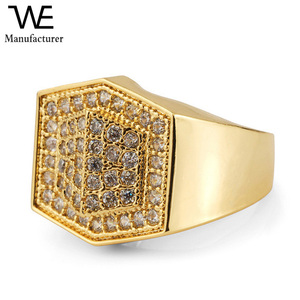 Foreign Trade New Style Copper Micro Pave Zircon Polishing with Gold Plating Ring