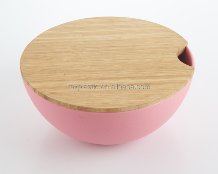 Eco-friendly Degradable Bamboo Fiber Salad Bowl with bamboo lid