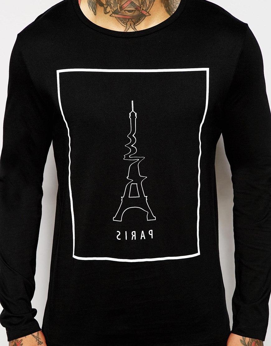 Black t shirt with print - China Manufacturer Factory T Shirt Production Cotton Fabric Long Sleeve Men Black T Shirt