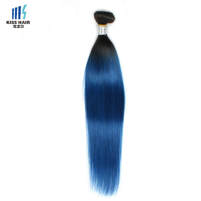 10-18 inch ombre color T1B/blue silky straight virgin Malaysian human hair bundles