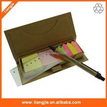 Promotional logo printing sticky notepad, arrow sticky notes,ballpen and ruler holder