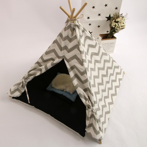 pet toy bed tent Wholesale washable and remorable cotton canvas cream and navy for indoor