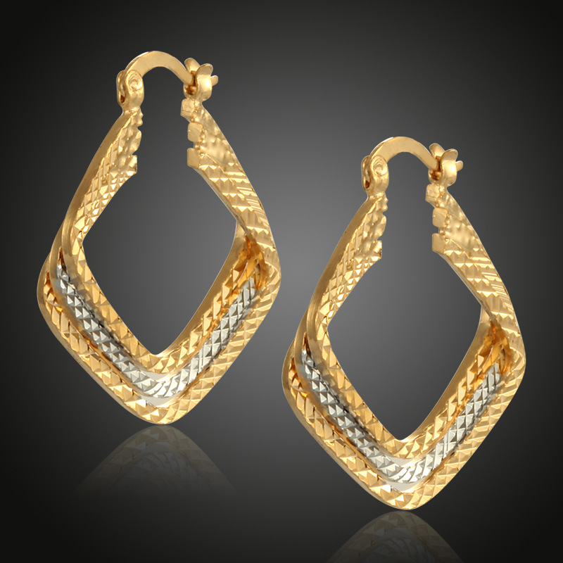 Duoying Jewelry Factory Three Layer <strong>Earrings</strong> Women Accessories European New Popular 18k Gold Geometric Rhombus <strong>Earrings</strong>
