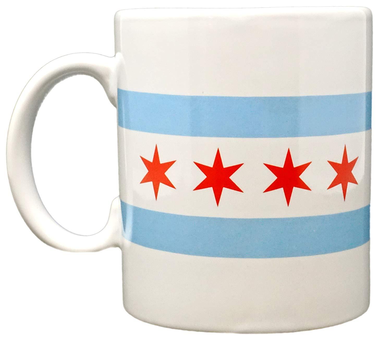 Funny Guy Mugs Chicago Flag Ceramic Coffee Mug White 11 Ounce