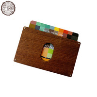 Solid wood slim wallet with vegan gift for men