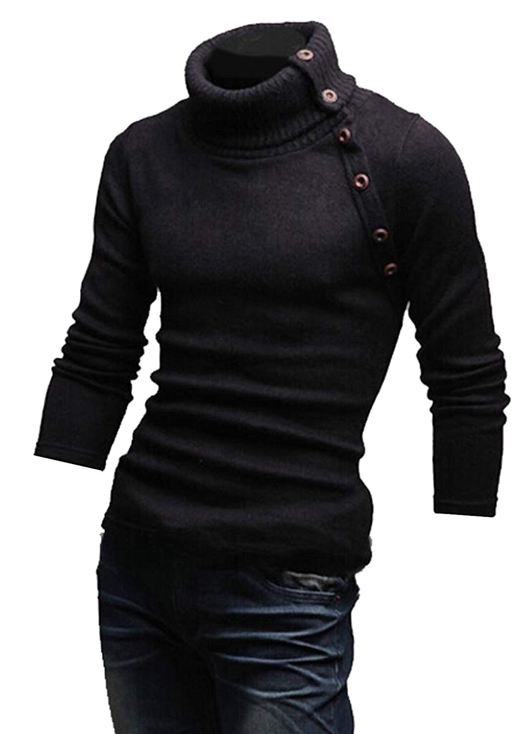 XQS Mens Casual Turtleneck Slim Wool Blend Pullover Sweaters