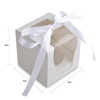 Cupcake box White paper with PVC window Birthday Party Wedding Cupcake Decoration Packaging supplies Gift box